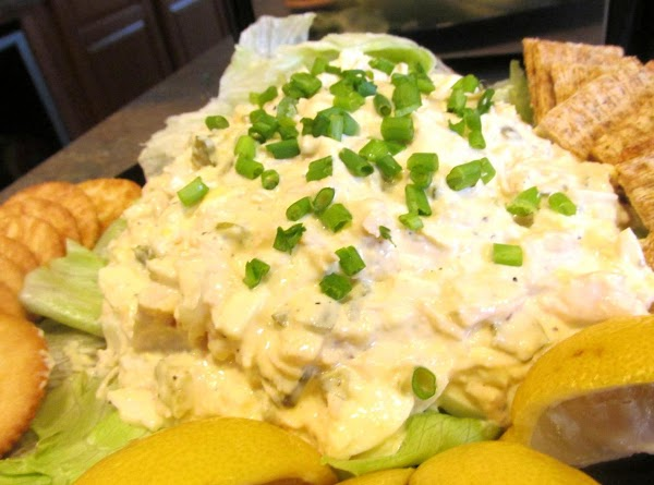 Add chicken salad & top with chopped green onions if desired. Add assorted crackers....