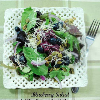 Leafy Green Salad with Blueberries and Blueberry Basil Vinaigrette.