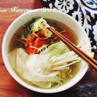 Vegan Naengmyun (Korean Cold Noodle Soup).