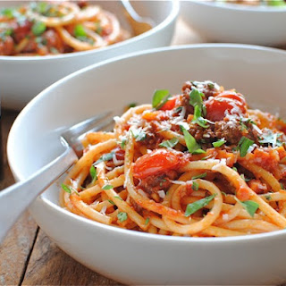 Beef Bolognese with Bucatini Pasta.