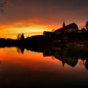 Novo mesto by Tomaž Mikec - City,  Street & Park  Vistas ( reflection, sunset, evening, river, city )