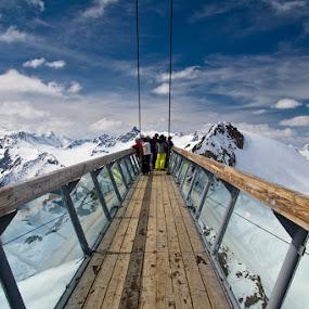 The Alps observation pole in Solden, Austria by Max Mayorov - Landscapes Mountains & Hills ( landmark, hill, mountain, winter, observation, sky, pole, bridge, landscape, austria, alps )