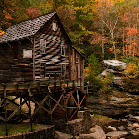 Glade Creek Mill backside by Steven Faucette - Buildings & Architecture Public & Historical ( grist, mill, wva, babcock )