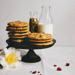 White Chocolate, Raspberry, and Pistachio Cookies.