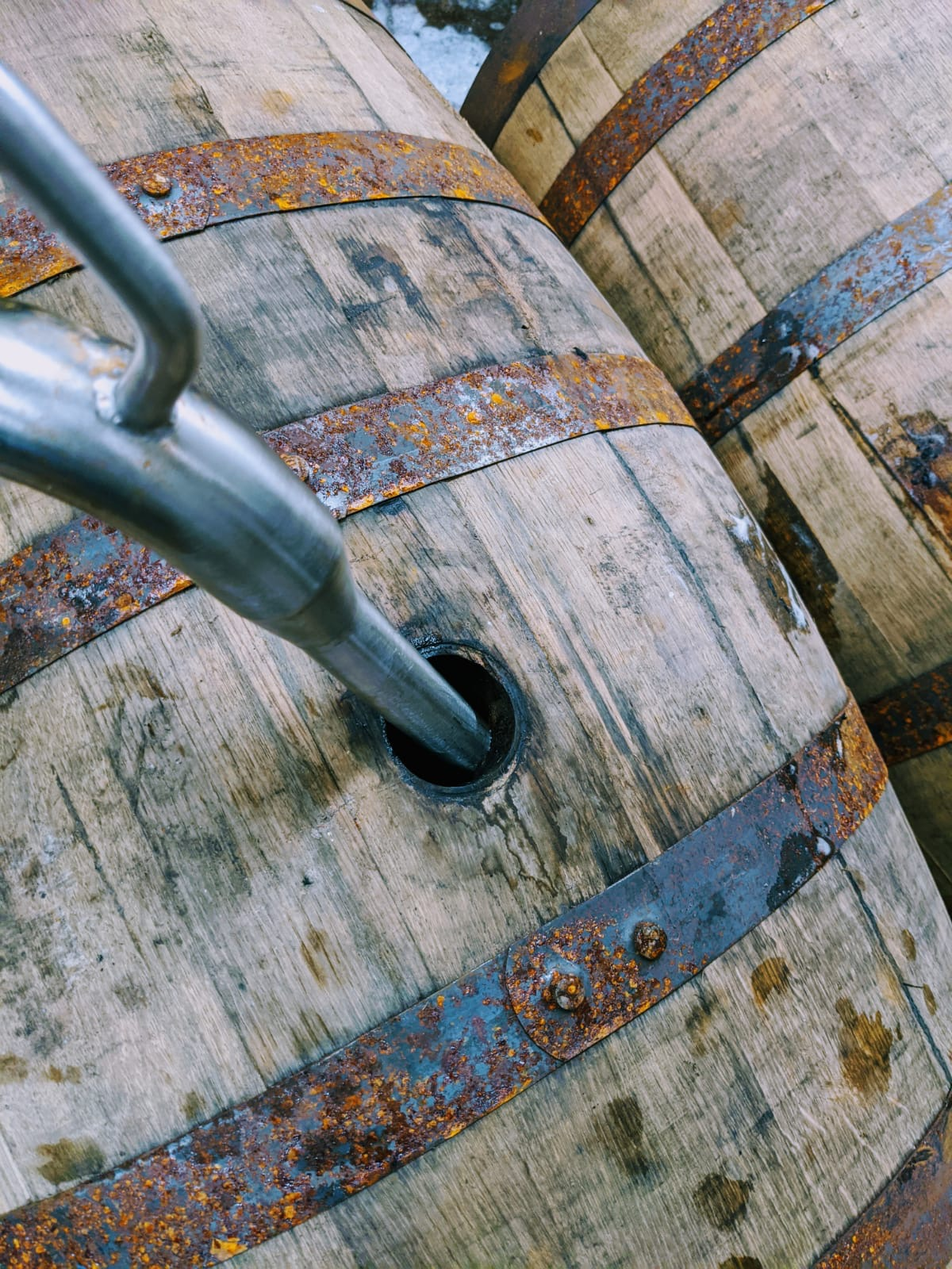 Close up of an ex-whisky cask being filled with a special beer for our next barrel-aged collaboration