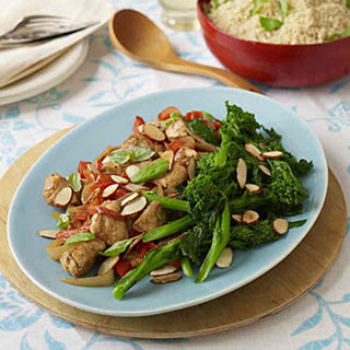Chicken With Peppers, Broccolini, and Basil.