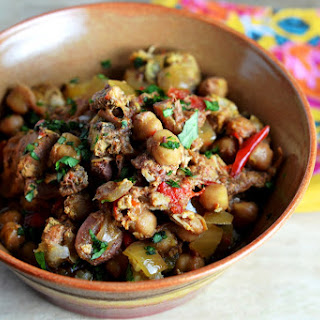 Crockpot Moroccan Chicken with Chickpeas, Dates and Raisins