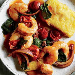 Shrimp with Fried Polenta Cakes