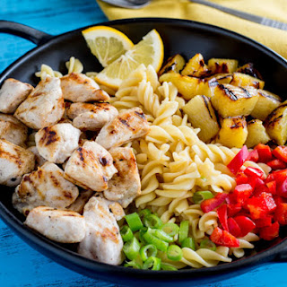 Hawaiian Chicken Pasta Salad with Grilled Pineapple.