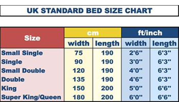 All UK Standard Sizes and Special Sized Mattress