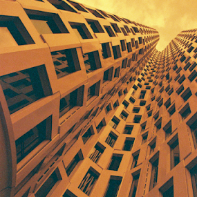 Redscale Perspective by Adrian Popescu - Buildings & Architecture Office Buildings & Hotels ( analog, analogic, pattern, perspective, 35 mm, redscale, details, film, analogue, building, architecture )