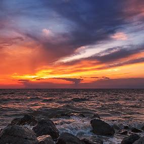 After the storm by Dmitriy Yanushevichus - Landscapes Sunsets & Sunrises ( water, sunset, stone, cloud, sea, seascape, landscape, storm, sun,  )