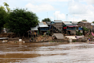 Photo: Year 2 Day 34 -  Village on the Banks of the Mekong