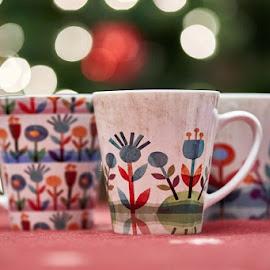 Maja's Mugs by Svemir Brkic - Artistic Objects Cups, Plates & Utensils ( christmas lights, three, mug, cup,  )