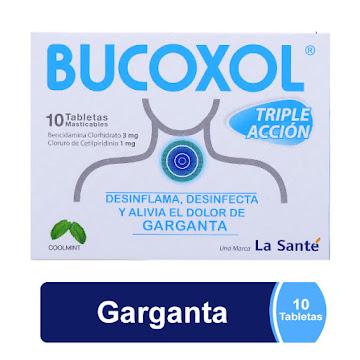 Bucoxol TripleAcción   Coolmint 3/1mg Caj.x10Tab.LAS Bencidamina Cloruro