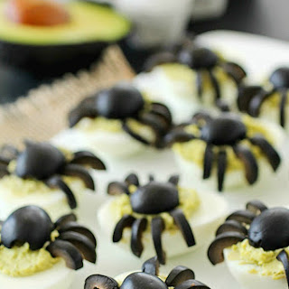 Spider Avocado Deviled Eggs