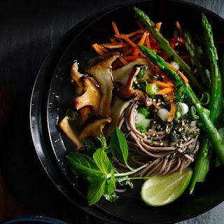 Sesame Soba with Asparagus and Mushrooms.