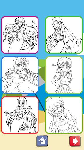 Anime Mermaid Girls Coloring