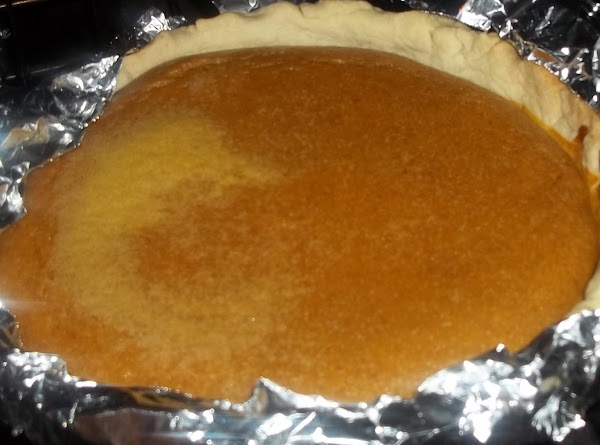 Now, it's ready to go into the pie crust. Pour even amounts into each...