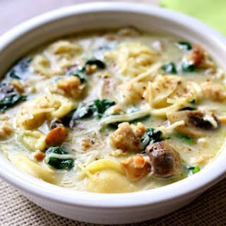 Slow Cooker Tortellini Soup with Parmesan, Chicken Sausage and Mushrooms.
