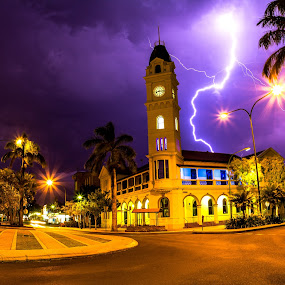 Bundeberg Post Office, Queensland, Australia by Ellen Foulds - Buildings & Architecture Public & Historical ( lightning, world war 1 memorial, night scene, landscape, historical site, bundeberg  post office )