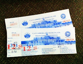 Photo: Mekong Express Bus tickets from Phnom Penh to Ho Chi Minh City (HCMC).