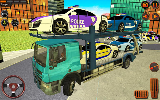 City Police Car Transporter Truck: Trailer Driving apktram screenshots 2