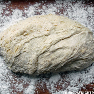 Slow-Rise Pizza Dough (adapted from Jim Lahey's No-Knead Pizza Dough).