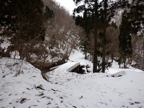 路肩の除雪の先に林道