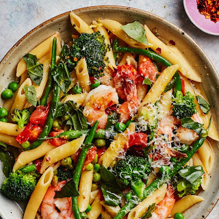 One-Pot Pasta Primavera with Shrimp.