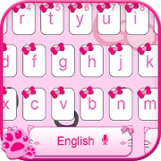 Pink Cute Kitty Cartoon Keyboard Theme‏