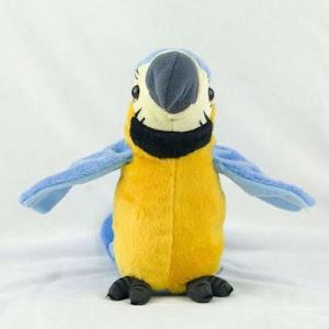 Jucarie de plus interactiva papagal vorbitor, albastru