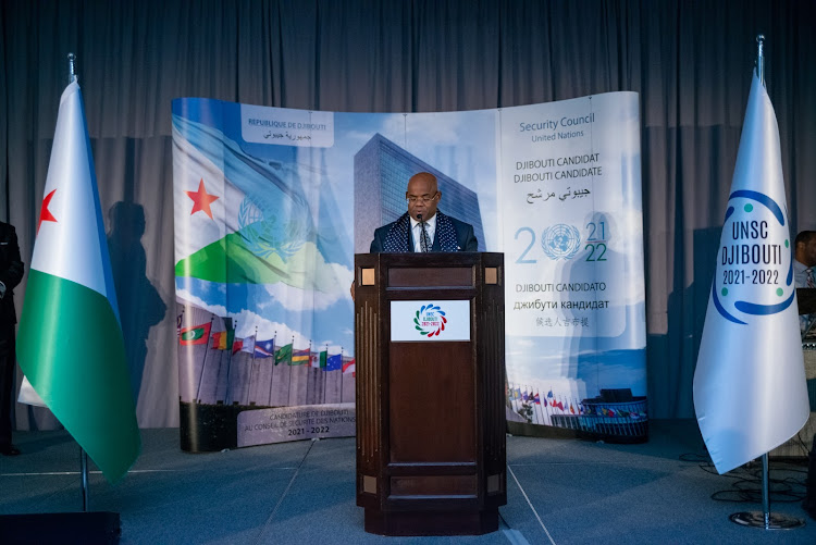 Djibouti Permanent Representative to the UN Amb Mohamed Doualeh during the launch of the country's bid on December 5 in New York