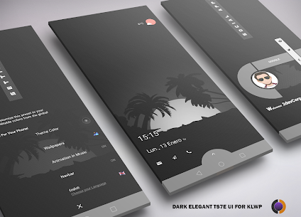 DARK Elegant TS7E UI for Klwp V1.0 1