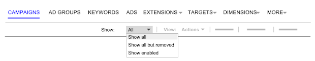 Select Show all to see removed items in a report.