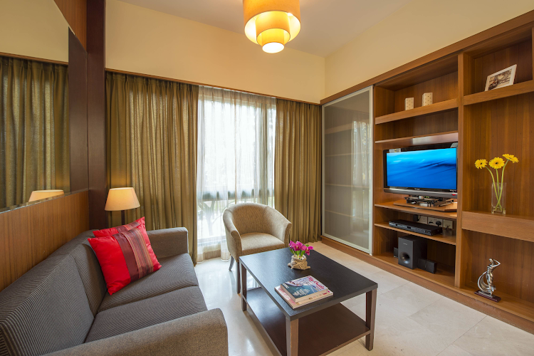 Living area at Orchard Road apartment