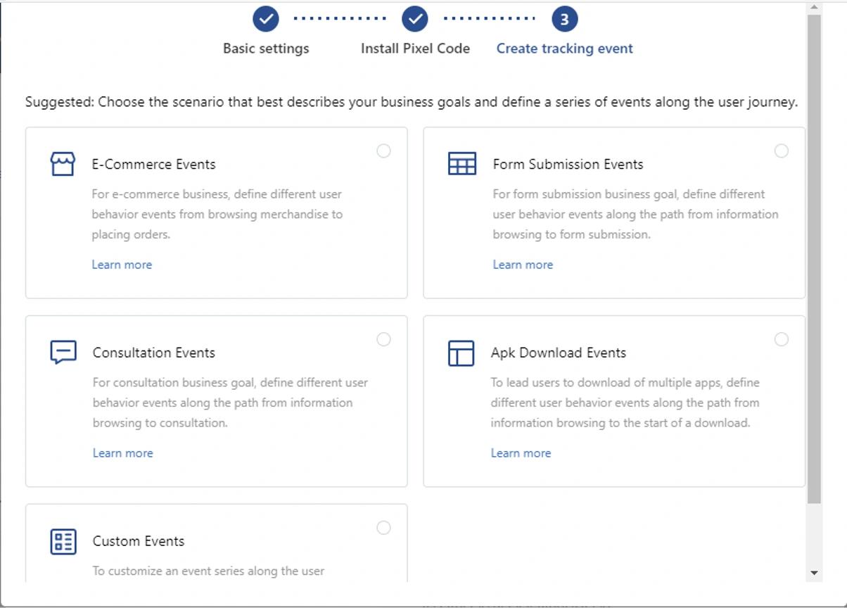 create tracking event tiktok pixel