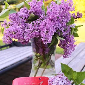 For my mom... by Jennifer Smusz - Flowers Flower Arangements ( #bloom, #spring, #lilacs, #purpleblooms, #bible, #cross )