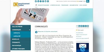 Projet de 1 M$ à la Chocolaterie des Pères Trappistes de Mistassini - Placer l'innovation au cœur du développement économique de nos régions Investissement Québec