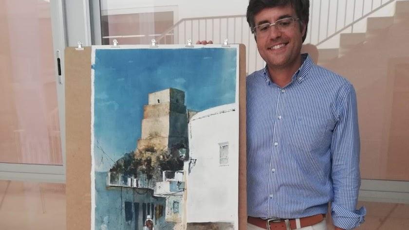 Pedro Miguel Jiménez, junto a la acuarela premiada.