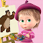 Masha and the Bear. Pixel сoloring pages for kids icon