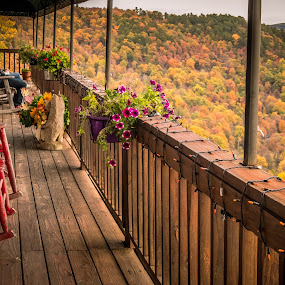 The Wait's Not Bad by Jennifer  Loper  - Buildings & Architecture Other Exteriors ( view, canyon, mountains, flowers, deck, restaurant, trees )