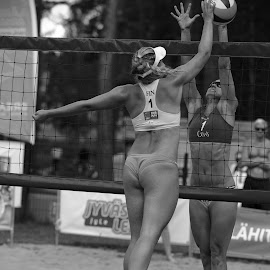 Beach volley by Simo Järvinen - Black & White Sports ( playing, monochrome, black and white, female, outdoor, players, beach volley, action, sports, summer, women )