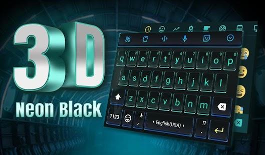 [Download 3D Neon Hologram Black Keyboard Theme for PC] Screenshot 5
