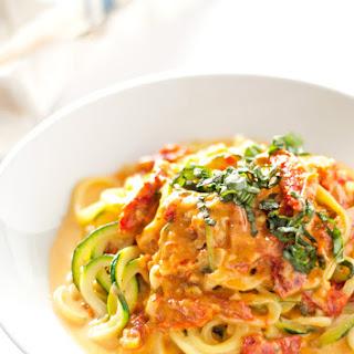Zucchini Noodles with Sun Dried Tomato Cream Sauce.