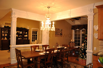 Photo: (After) Tocco's Breakfast room half walls with pillars and beams Moorestown, NJ