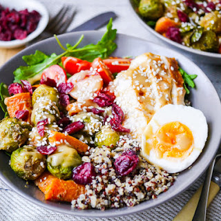 Maple Tahini Brussels Sprouts Quinoa Bowl