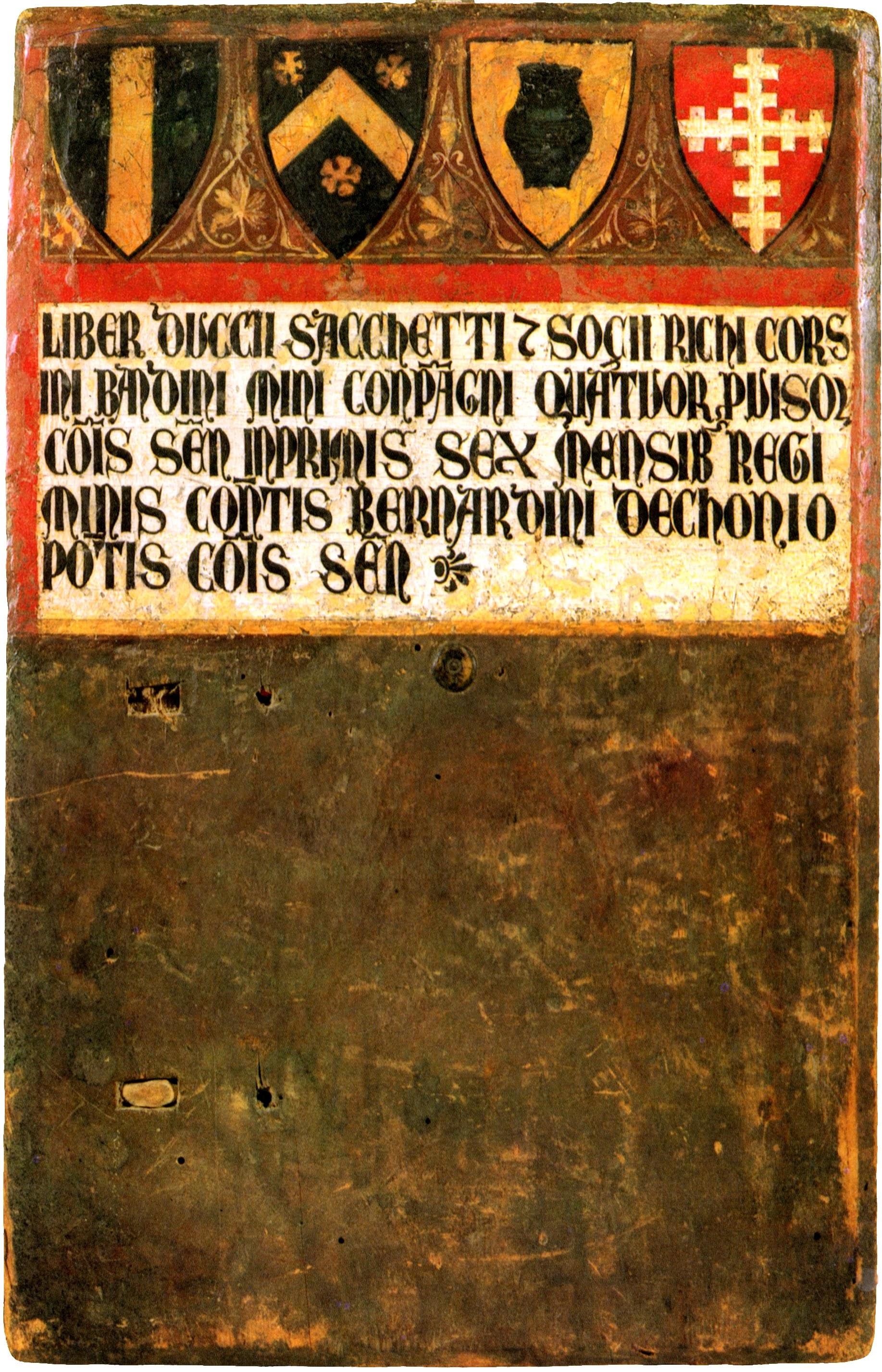 Duccio di Buoninsegna (?), Tavoletta della Biccherna, Stemmi dei quattro Provveditori (1294), Berlino, Kunstgewerbemuseum