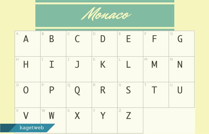 monaco font sebagai contoh monospace font family