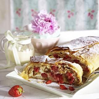 Strawberry Strudel with Vanilla Custard.
